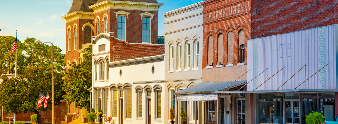 Store fronts in a small town business district