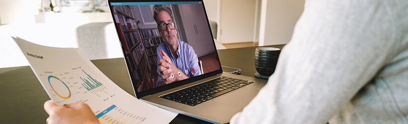 Financial professional meeting with clients virtually